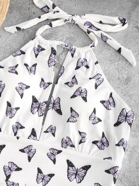 womens ZAFUL Ribbed Butterfly Print Cutout One-piece Swimsuit - WHITE S Mobile