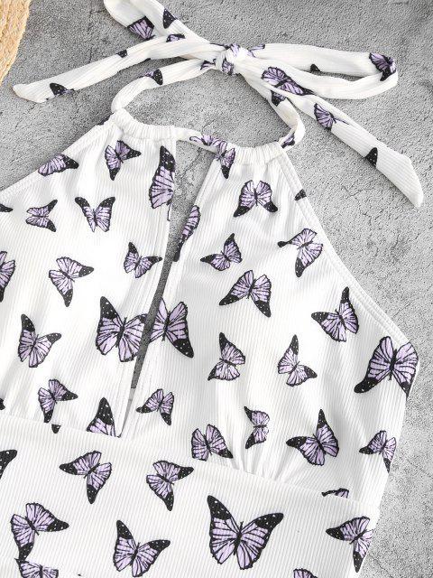 ZAFUL Bañador en Una Pieza Ahuecado con Estampado de Mariposa - Blanco L Mobile