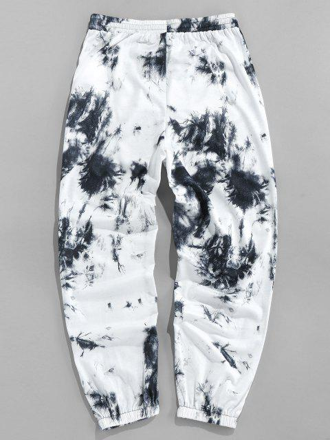 chic ZAFUL Tie Dye Print Striped Sweatpants - BLACK 2XL Mobile