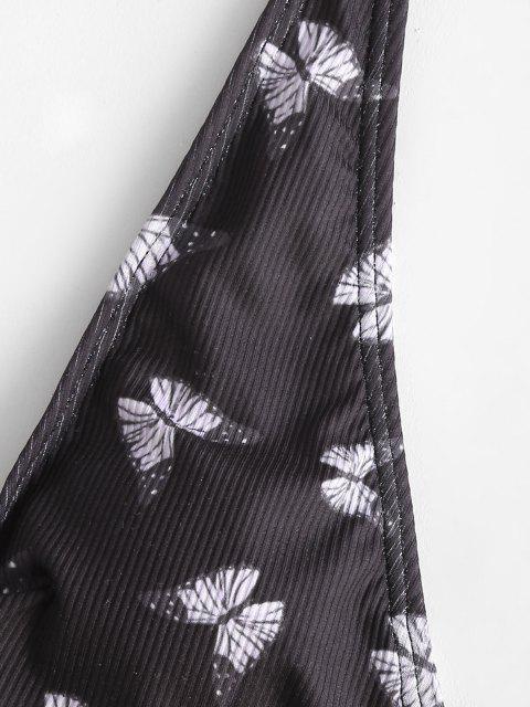 Costume da Bagno di ZAFUL Annodato a Costine con Stampa Farfalla - Viola chiaro L Mobile