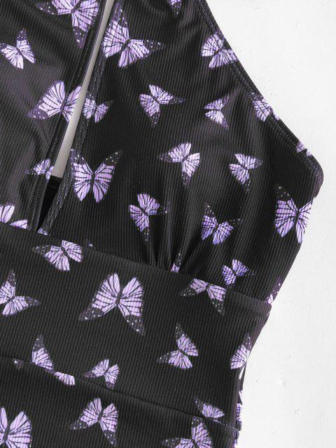 Costume Intero di ZAFUL a Costine con Stampa Farfalla - Viola chiaro XL Mobile