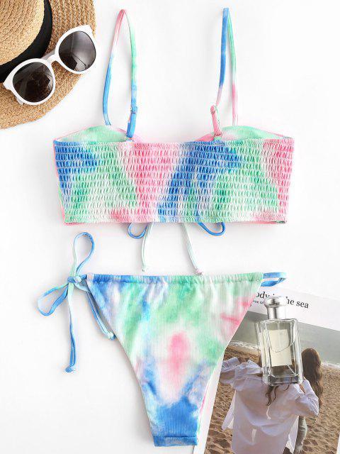 Costume da Bagno Bikini di Tie-Dye a Costine - Rosa chiaro L Mobile