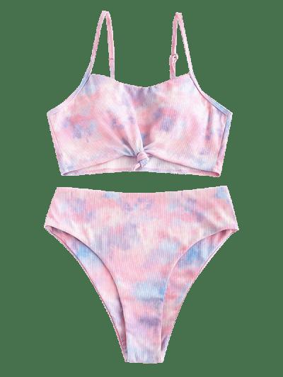 ZAFUL Ribbed Tie Dye Knotted High Waisted Tankini Swimwear