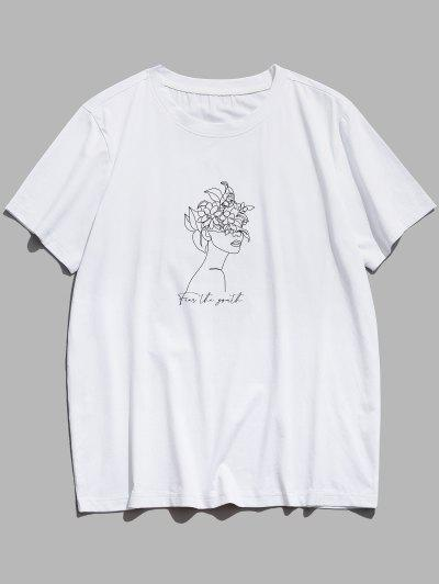 Fear The Youth Floral Figure Print Basic T-shirt - White L