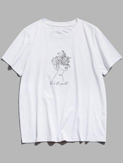 Camiseta Básica Con Estampado De Flores Y Lechuzas - Blanco L
