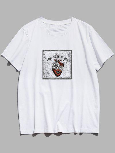 TRUE LOVE IS DEAD Blumen-Schmetterlings-Grafik Basic T-Shirt - Weiß M