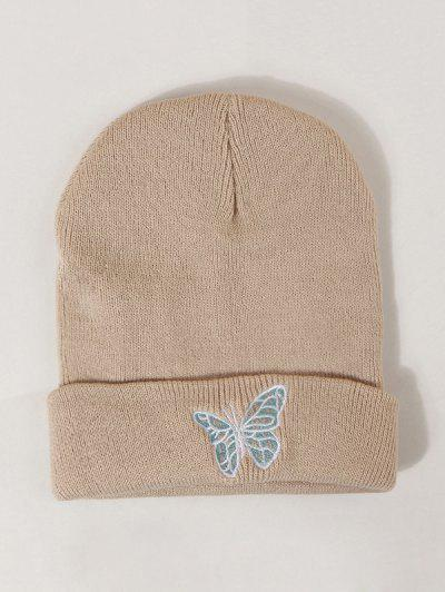 Embroidered Butterfly Knitted Hat - Khaki