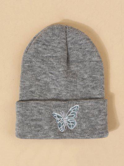 Embroidered Butterfly Knitted Hat - Gray