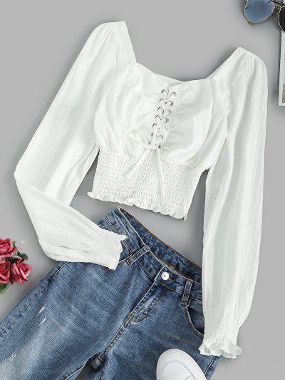 Lace Up Smocked Waist Milkmaid Blouse - White M