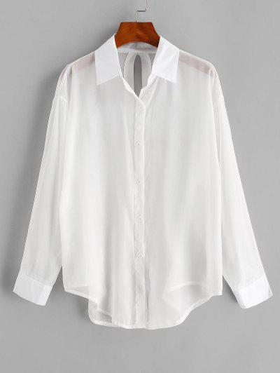 Split Tied See Thru Beach Shirt Cover Up - White
