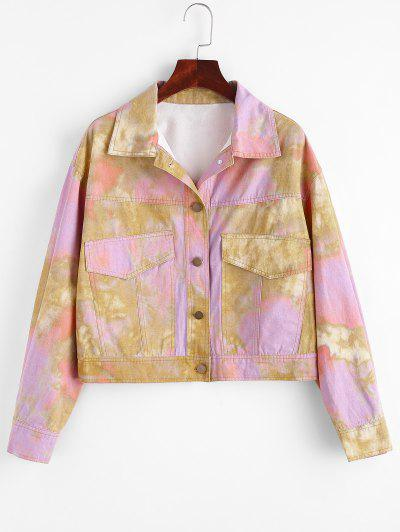 Tie Dye Button Up Cargo Jacket - Multi L