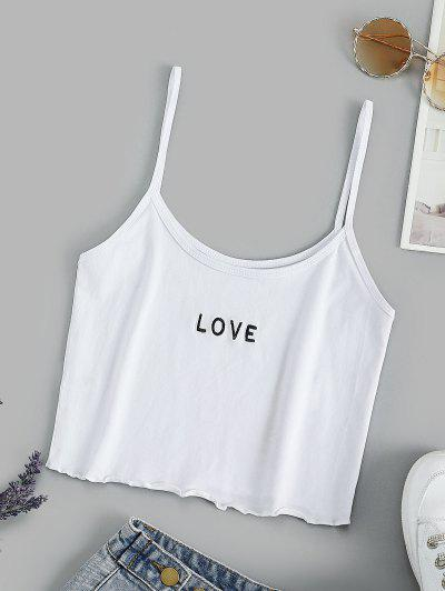 Basic Embroidered Cropped Cami Top - Milk White M