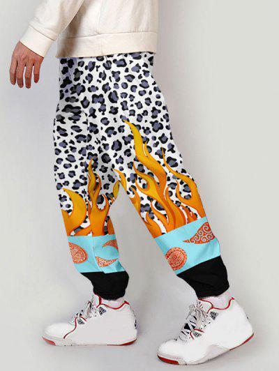 Leopard Flame Paisley Print Colorblock Pants - Multi-a L