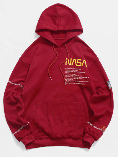 ZAFUL American Flag Patched Drawstring Pocket Hoodie - Red 3xl