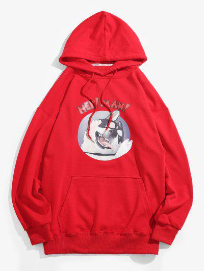 Cartoon Dog Graphic Front Pocket Casual Hoodie - Red M