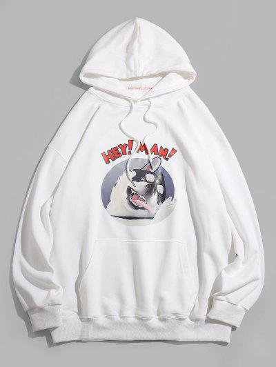 Cartoon Dog Graphic Front Pocket Casual Hoodie - White 4xl