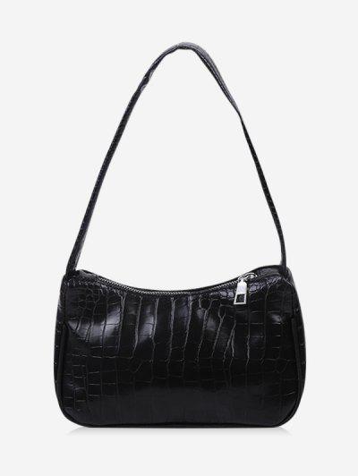 French Style Textured Shoulder Bag - Black