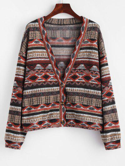 ZAFUL Fleece Lined Aztec Print Drop Shoulder Knit Cardigan - Tiger Orange M