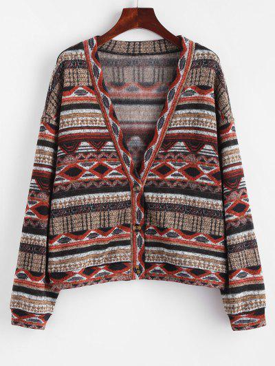 ZAFUL Fleece Lined Aztec Print Drop Shoulder Knit Cardigan - Tiger Orange S