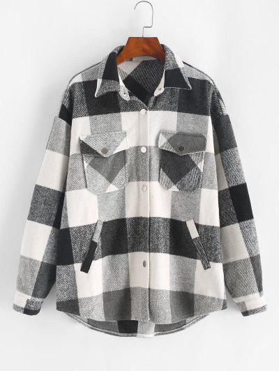 ZAFUL Plaid Print Button Up Wool Blend Jacket - Black M