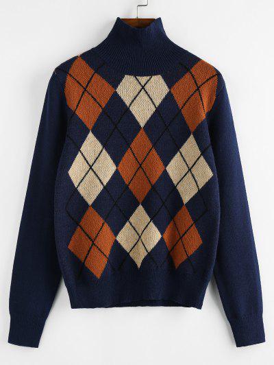 ZAFUL Argyle High Neck Jumper Sweater - Blue M