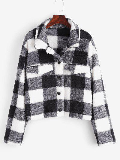 ZAFUL Plaid Faux Fur Drop Shoulder Coat - Black S