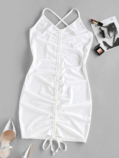 ZAFUL Cinched Criss Cross Bodycon Dress - White M