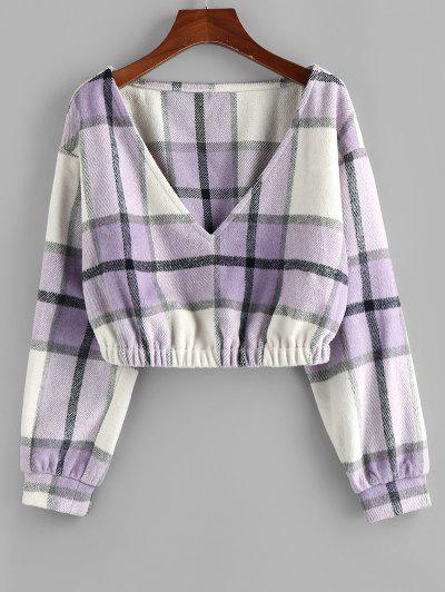 ZAFUL Plaid Drop Shoulder Elastic Hem Sweatshirt - Mauve L