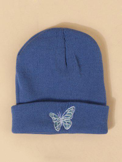 Embroidered Butterfly Knitted Hat - Cobalt Blue
