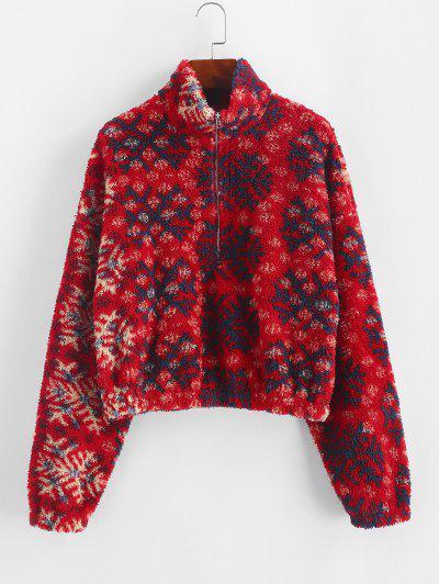 ZAFUL Snowflake Pattern Half Zip Fluffy Sweatshirt - Red M