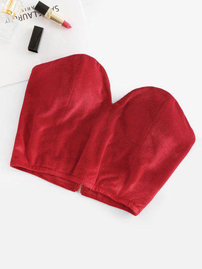 Non-slip Velvet Padded Sweetheart Bandeau Top - Red M