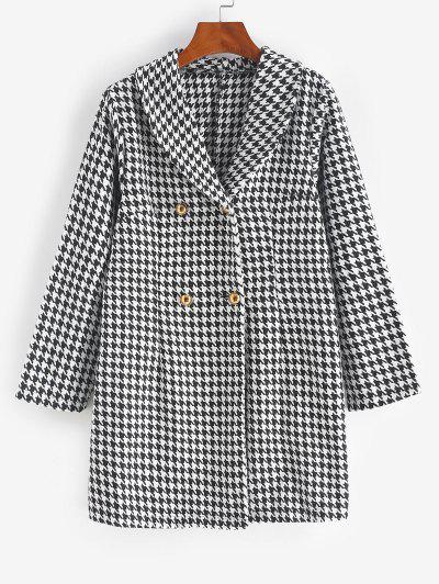 Double Breasted Houndstooth Tweed Coat - Black L