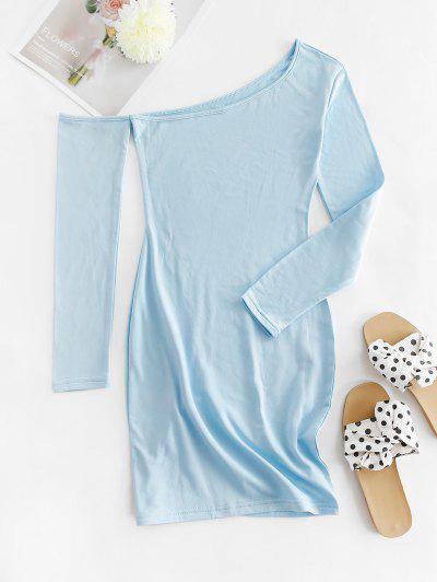 Skew Collar Fleece Lined Bodycon Dress - Light Blue L