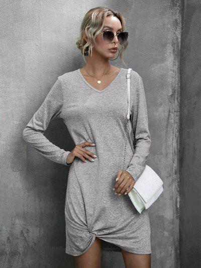 Heathered Twist Detail Tee Dress - Gray S