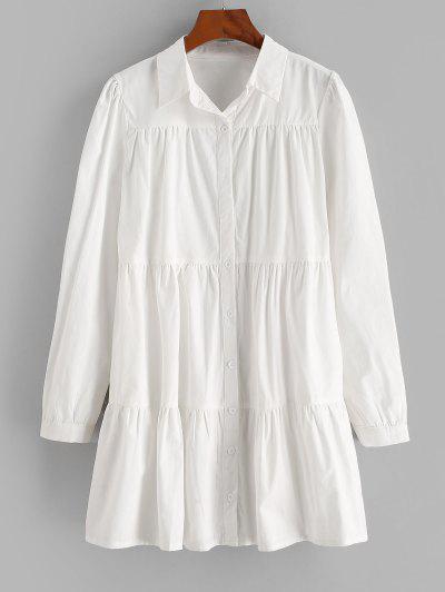 ZAFUL Langarm Freizeit Hemd Kleid - Weiß S