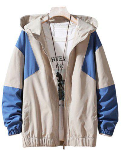 Hooded Contrast Zip Up Jacket - Beige L