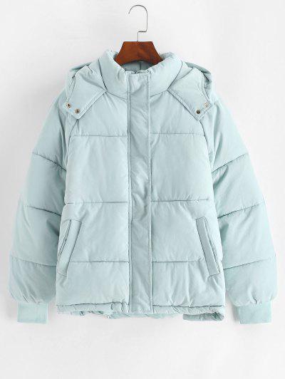 Hooded Raglan Sleeve Pocket Zip Puffer Coat - Light Blue S