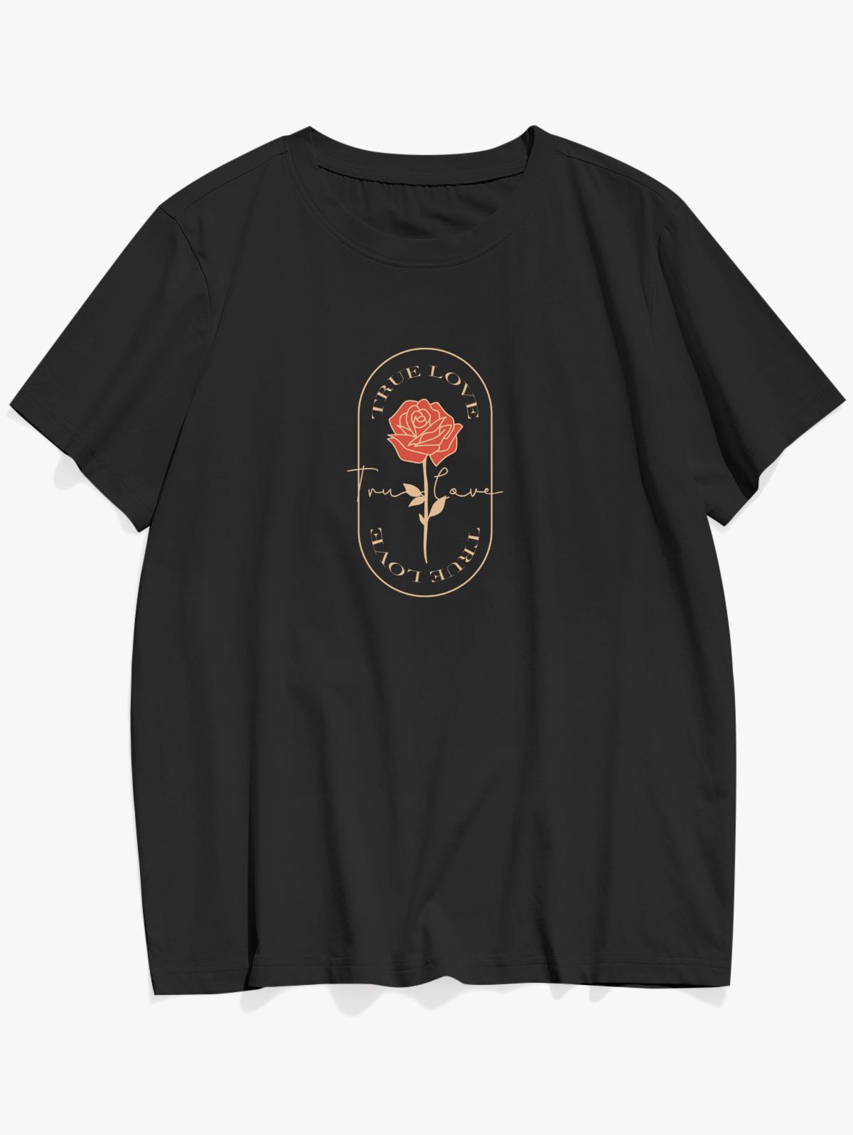 TRUE LOVE Rose Graphic Basic T-shirt, Black