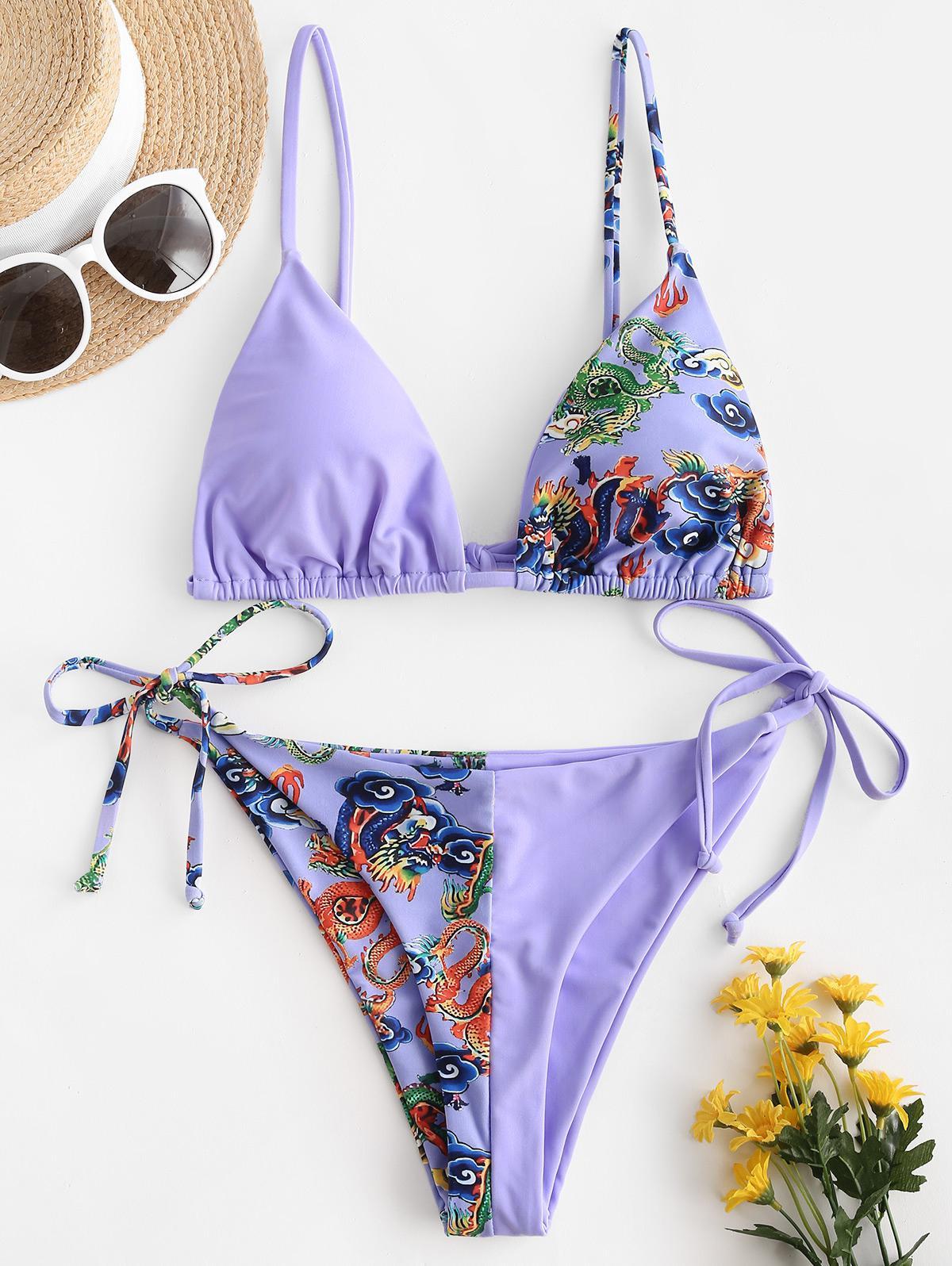 ZAFUL Chinoiserie Dragon Print Tanga String Bikini Swimwear