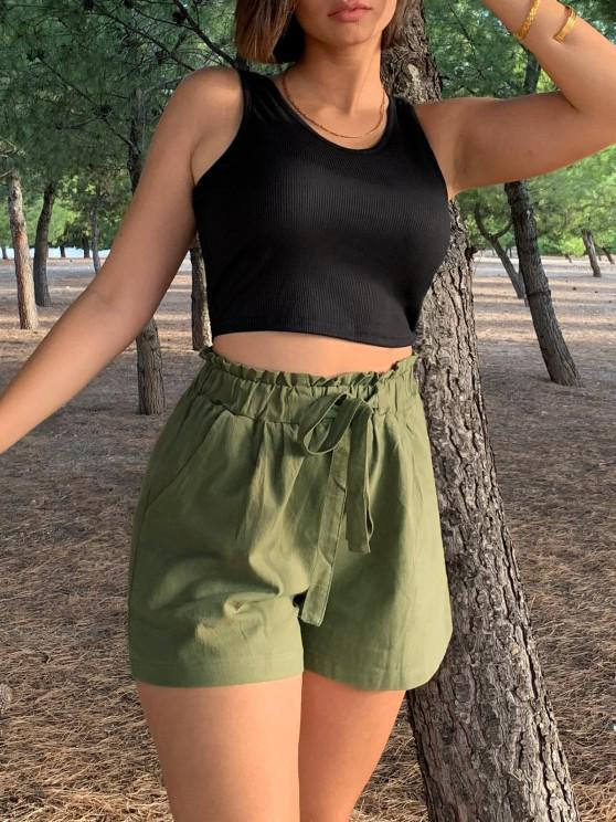 outfit Tie Ribbed Two Piece Set - GREEN S