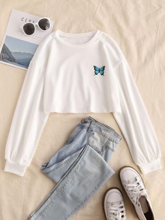 women's Drop Shoulder Butterfly Graphic Pullover Sweatshirt - WHITE M
