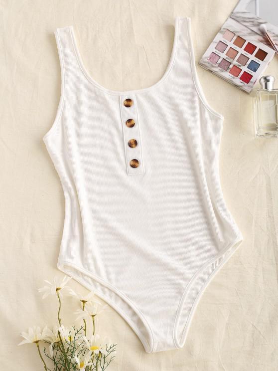 online Ribbed Mock Button Bodysuit - WHITE L