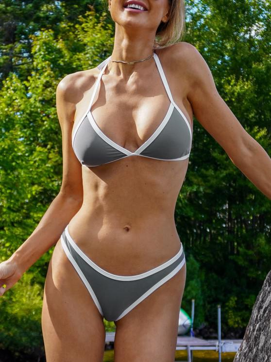 lady High Cut Contrast Piping Bikini Set - GRAY S