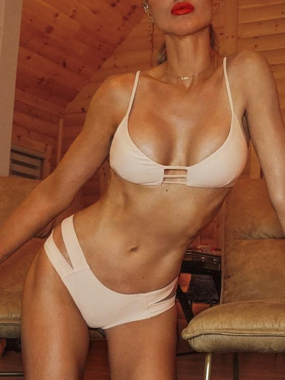 قفص العصابات بيكيني ملابس السباحة - مصفر الوردي S