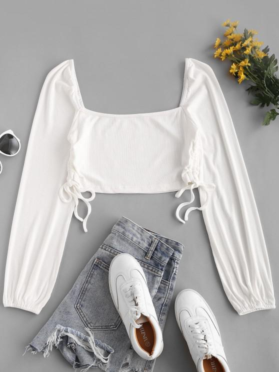 trendy Ribbed Cinched Side Milkmaid Top - WHITE L