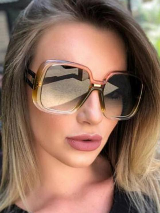 Square Gradient Hollow Temple Sunglasses - زهري