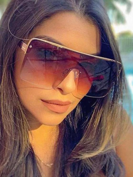 women Square Oversized Shield Sunglasses - BROWN