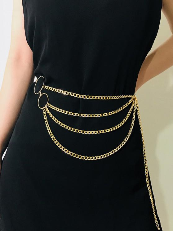 trendy O-ring Layered Belly Chain - GOLDEN