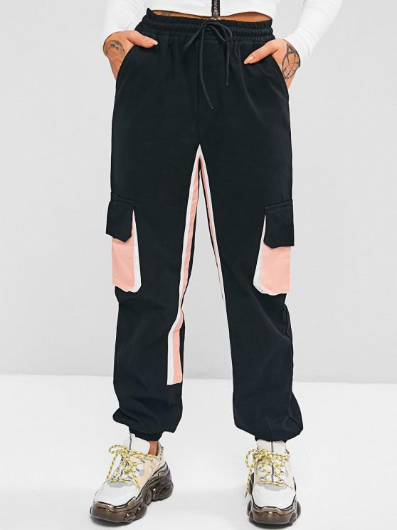 online Drawstring Colorblock Pockets Cargo Pants - BLACK S