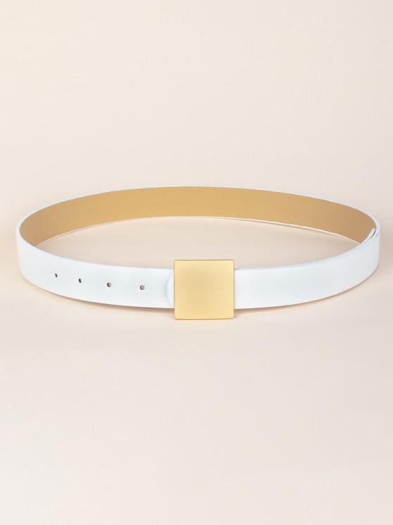 women's Square Buckle PU Leather Belt - WHITE